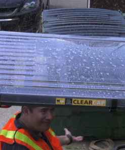ClearCap Forklift Cover Repels Rain
