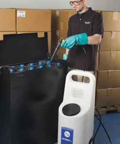 10 Gallon Battery Watering Cart In Use