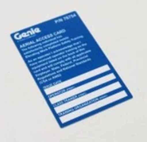 Genie New MEWP Operator Card