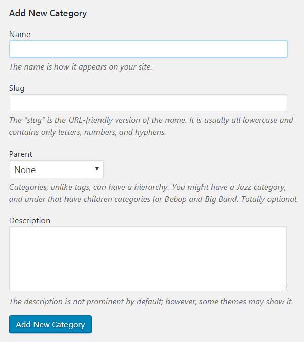 Add new WordPress category