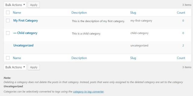 Manage WordPress categories