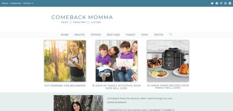 Comeback Momma Homepage