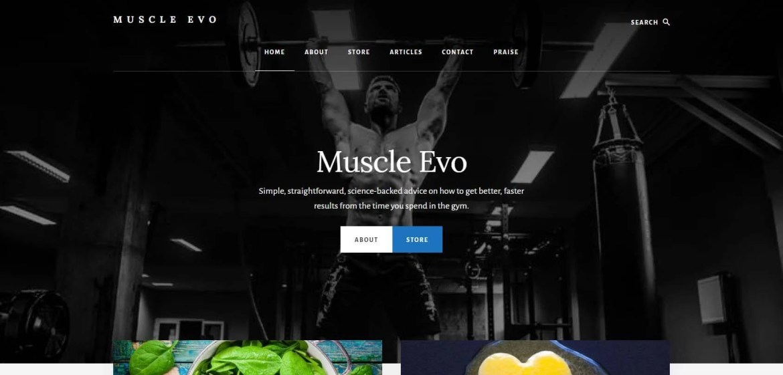 Muscle Evo Homepage