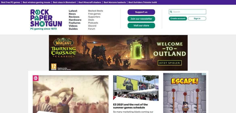 Rock Paper Shotgun Homepage