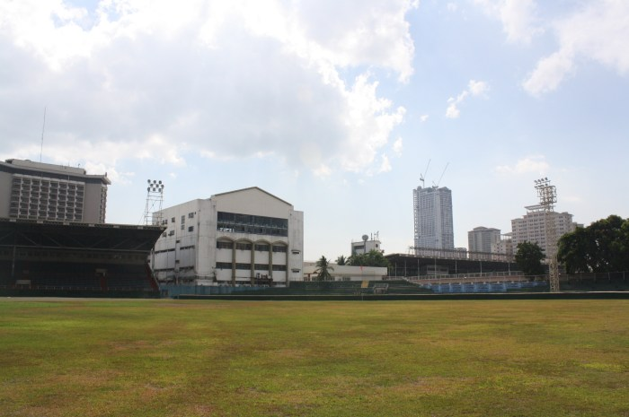 The whole expanse of the baseball field.