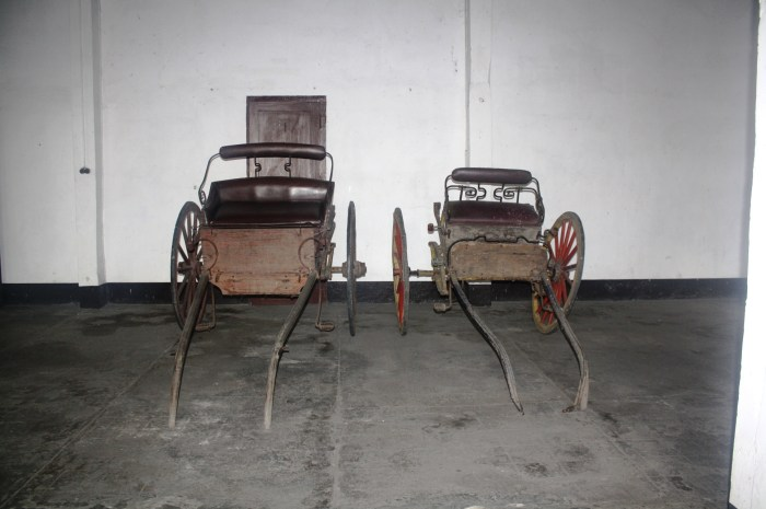 The carriages parked at the ground floor of the house.