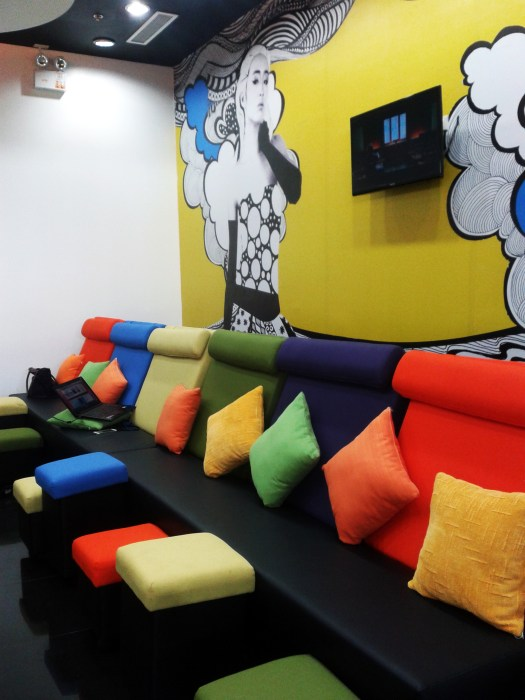 Colorful and relaxing place. They even have that flat TV screen to entertain you.