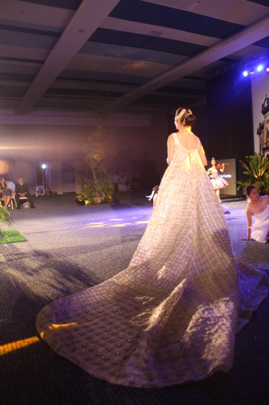 The train of the wedding gown.
