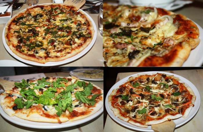 The pizzas served to us - (clockwise from upper left) Margherita, Funghi con Pancetta, Salmone, and Asian.
