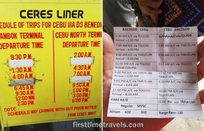 Bacolod-Cebu Ceres Bus schedule