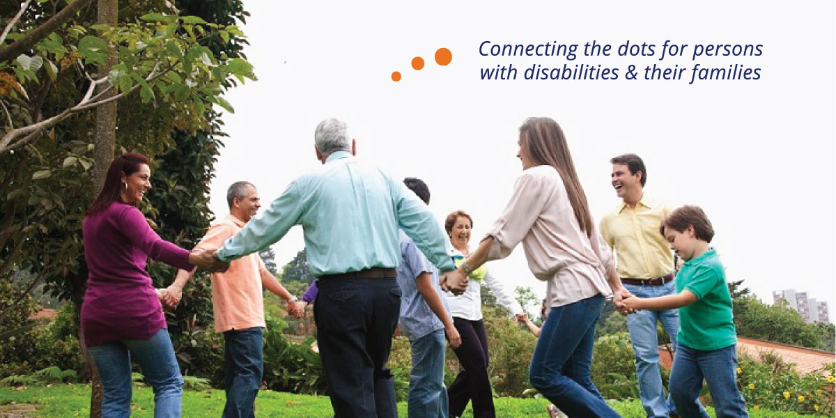 Family playing ring around & connecting the dots for persons with disabilities and their families
