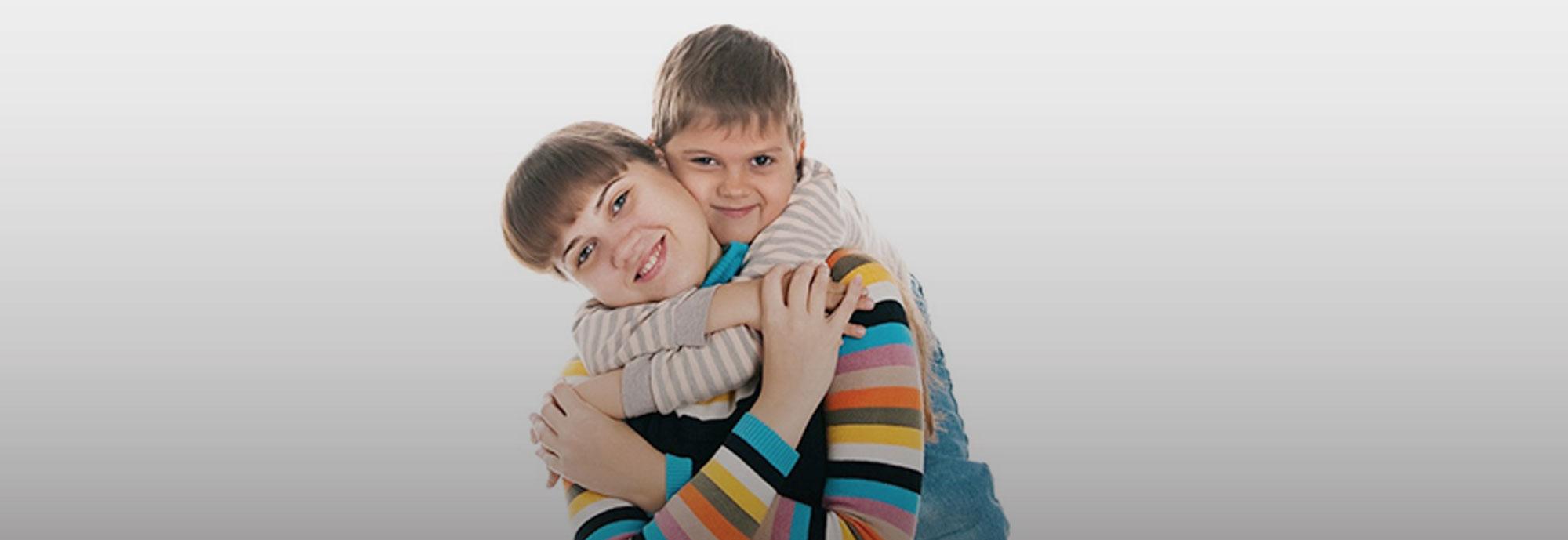 child hugging mom