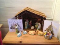 Our nativity complete with giant obscure donkey in the top left of the stable!
