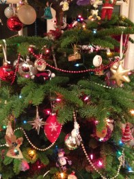 Beads adorn the tree
