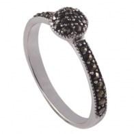 Silver rosette marcasite ring