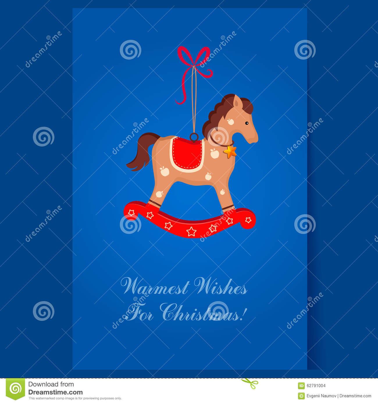 Immagini Di Natale Con Cavalli.Cartolina D Auguri Del Cavallo Dondolo Del Giocattolo Di