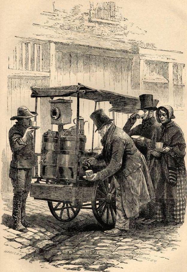 dieta-biedoty-miejskiej-stoisko-z-kawą-Henry-Mayhew-London-Labour-London-Poor