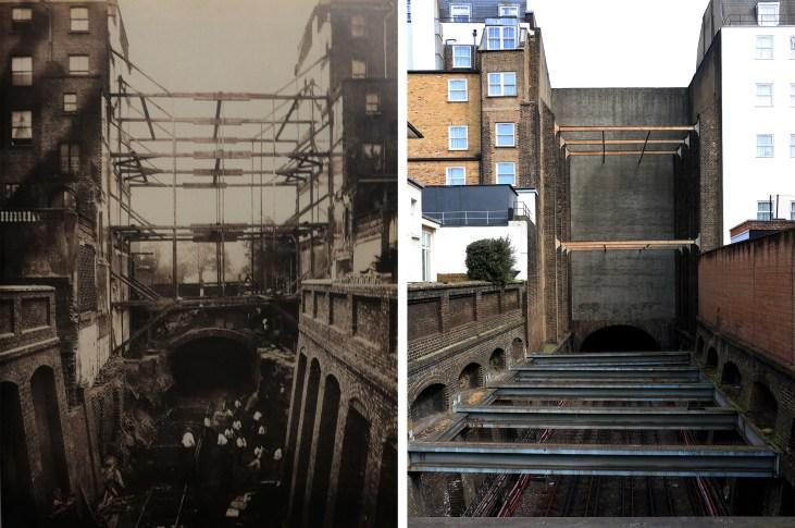 Leinster Gardens-budowa-linii-kolejowej-Londyn-kiedyś-i-dziś