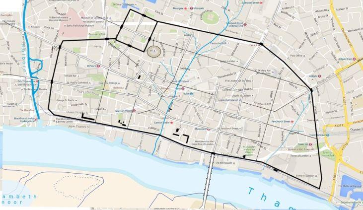 Roman-Londinium-on-a-present-day-map-of-London