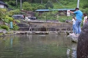管理釣り場で渓流釣り