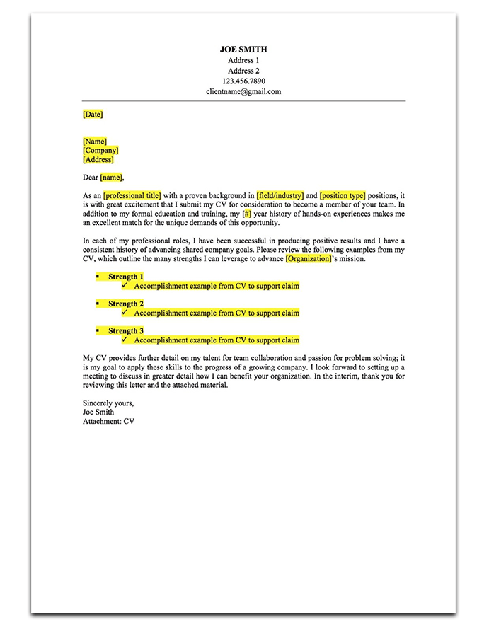 Sample 1: Strengths Based Cover Letter  Cover Letter To Company