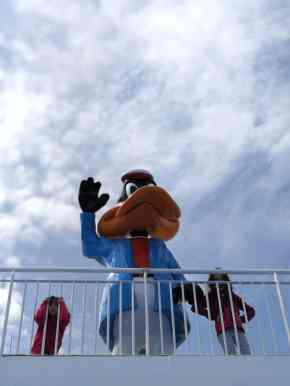 les filles et daffy duck sur un ferry moby lines