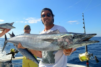 Nice wahoo have been plentyful, here´s Pedro showing the best speciment out of a triple strike on a day they caught / released 27 game fish.