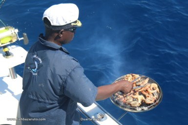 Fishing Mozambican style. Flat calm waters, hot baking sun & the non-stop exercise of pulling strong game fish one after the other calls for a prawn & fish barbecue on the boat with some chilled 2M beer or dry white wine on the side….your call!!!
