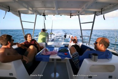 Waiting for the Yellowfin Tuna bite aboard the ever comfortable 38ft SuperCat
