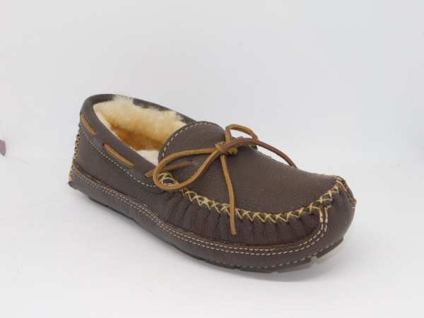 mens moosehide sheepskin moccasin chocolate 3752