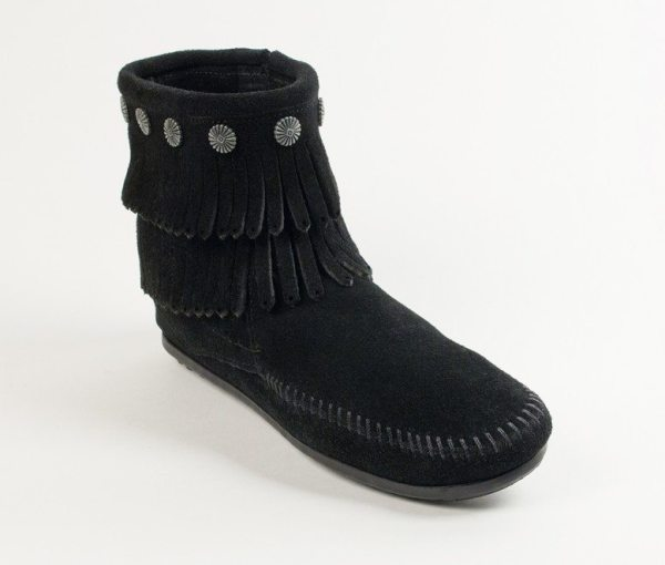 womens boots double fringe black 699