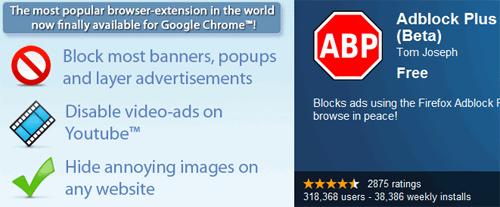 Adblock Plus para el navegador Google Chrome