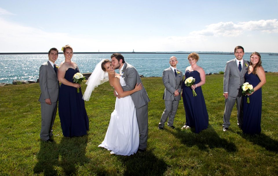 ride and groom fci photography water front buffalo wwedding party