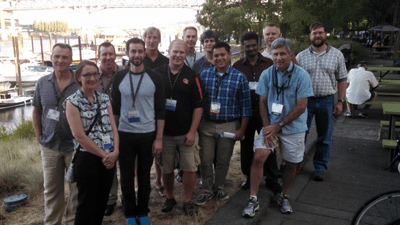 Some of the participants on their way to the pre-symposium dinner. Credit: Carl Kittel