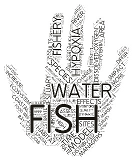"Word cloud from the abstracts in the ""Resolving the Multiple Impacts of Anthropogenic Eutrophication on Coastal Fish and Fisheries"" symposium. Credit: K. J. Rountos"