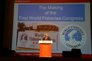 AFS Past President Larry Nielsen gives a keynote presentation on the history of the World Fisheries Congress.