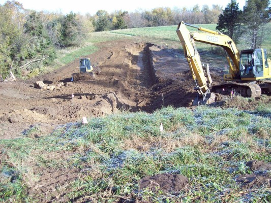 Excavators build a new pond in 2014.
