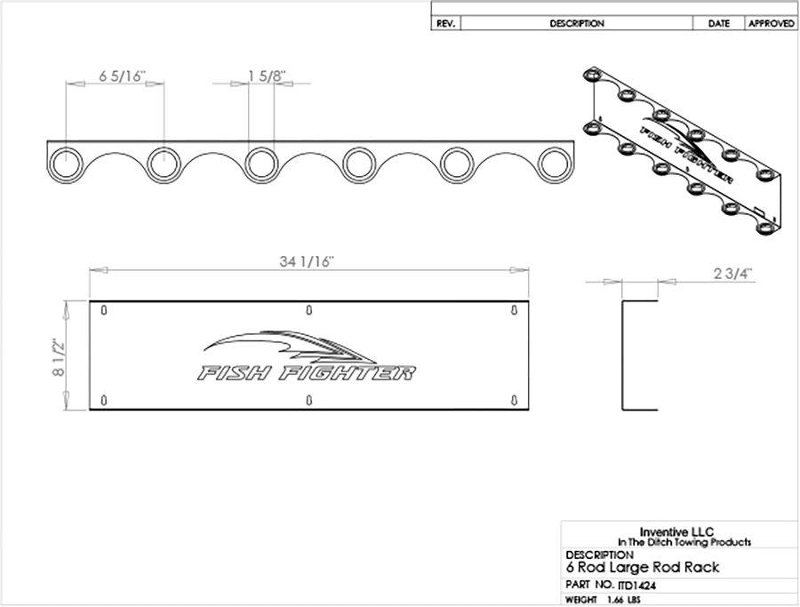 wall mount offshore rod rack 6 rod