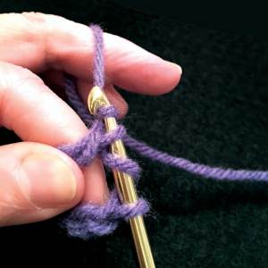 Yarn over hook with 3 loops on hook