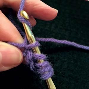 Yarn over hook. 5 loops on hook