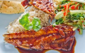 Mackerel Fillets in Teriyaki Sauce with Pak Choi and Chilli