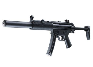 H&K (Umarex) MP5 SD The solid steel construction is a little heavy for kids, but the German dependability is excellent! http://www.hk22rimfire.com/