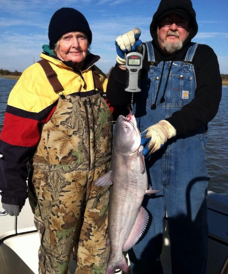 Mimi Catches 12 lb Blue on Rod and Reel