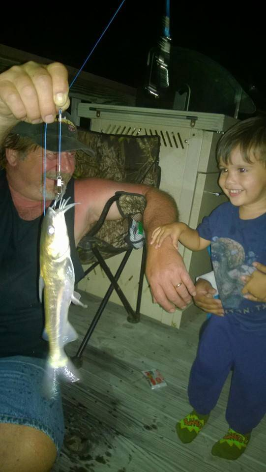 Soren's first fish caught on his Spiderman pole Poppi got him for Christmas