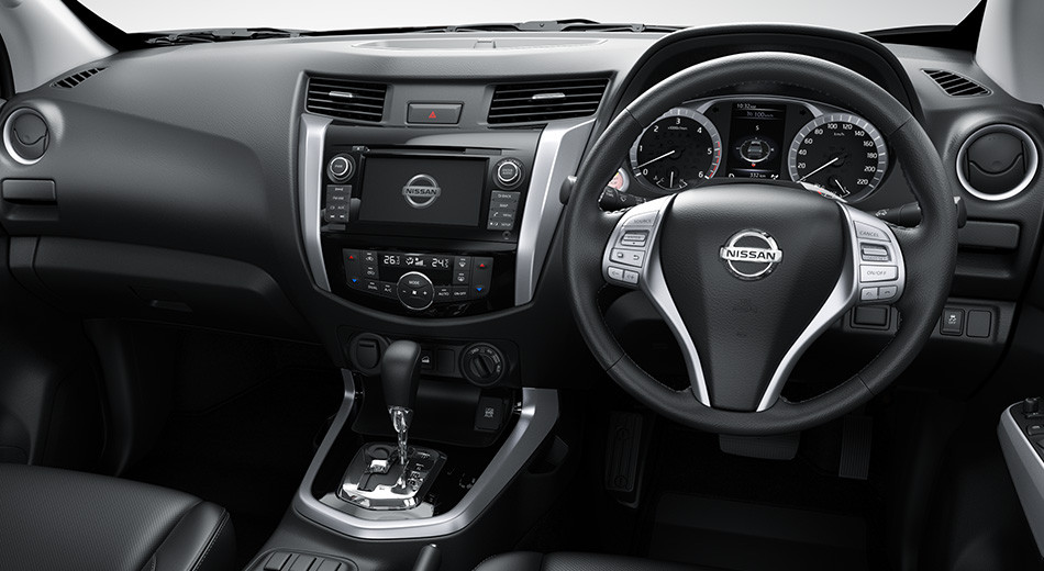 Dashboard and console on the Nissan Navara.  Introduced only for markets that use right-hand drive.