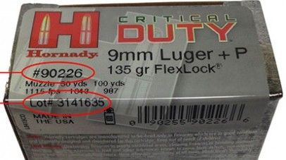Hornady issues recall for single Lot of Critical Duty 9mm ammo