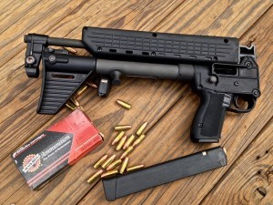 Keltec SUB2000 folding 9mm carbine that takes Glock mags.