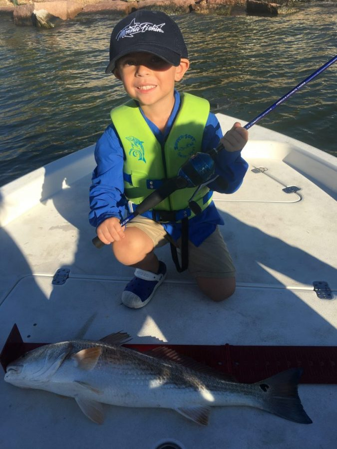 Big slot red caught on little zebco by himself for Texas saltwater fishing magazine