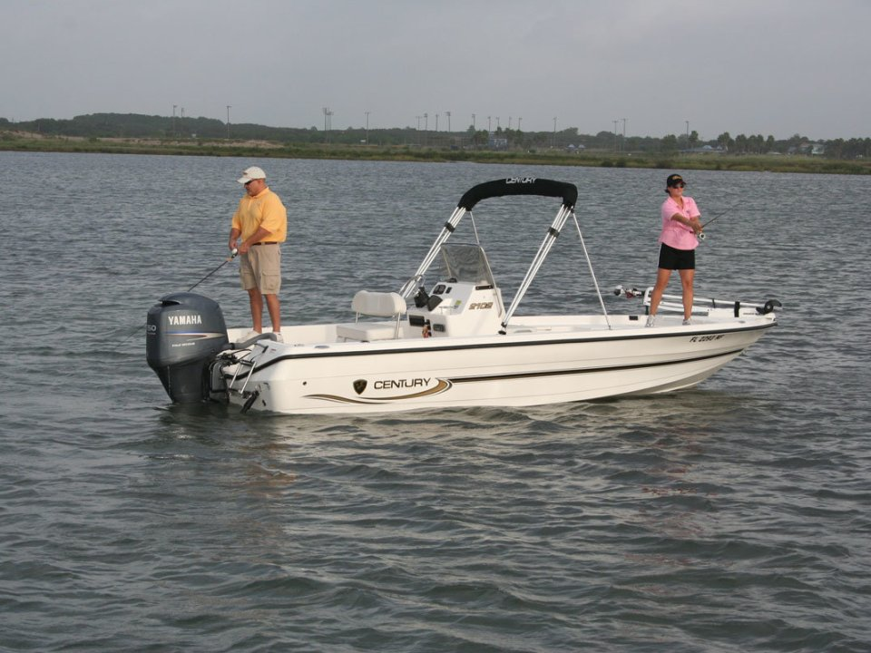 fishing on an outboard boat
