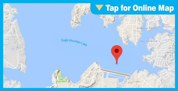 Eagle Mountain Lake HOTSPOT: 50 yards to 300 yards North of Dam